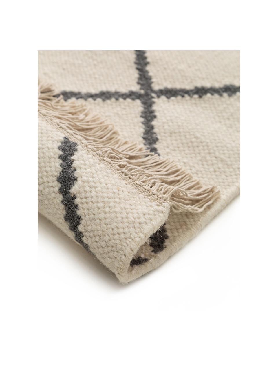 Handgewebter Kelim-Teppich Vince mit Rauten-Muster und Fransen, 90% Wolle, 10% Baumwolle  Bei Wollteppichen können sich in den ersten Wochen der Nutzung Fasern lösen, dies reduziert sich durch den täglichen Gebrauch und die Flusenbildung geht zurück., Elfenbein, Dunkelgrau, B 200 x L 300 cm (Größe L)