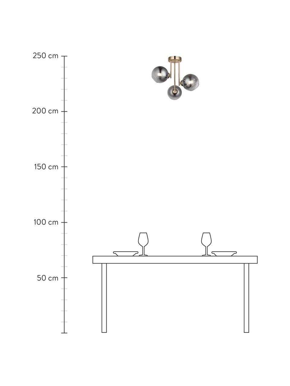 Deckenleuchte Bera aus verspiegeltem Glas, Baldachin: Metall, gebürstet, Goldfarben, Grau, 46 x 40 cm