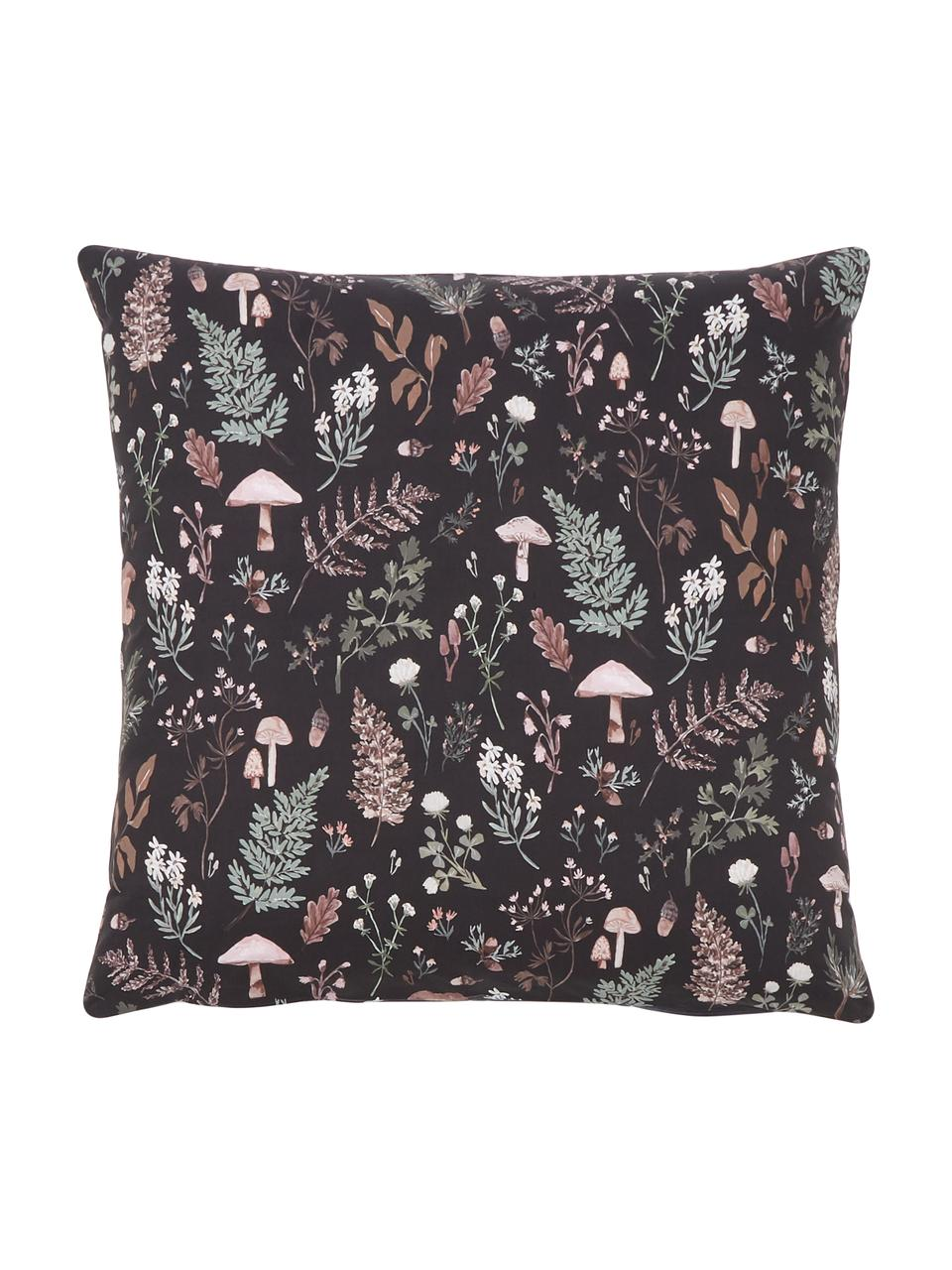 Designer Perkal-Bettwäsche Mushroom aus Bio-Baumwolle von Candice Gray , Webart: Perkal Fadendichte 180 TC, Anthrazit, Mehrfarbig, 135 x 200 cm + 1 Kissen 80 x 80 cm