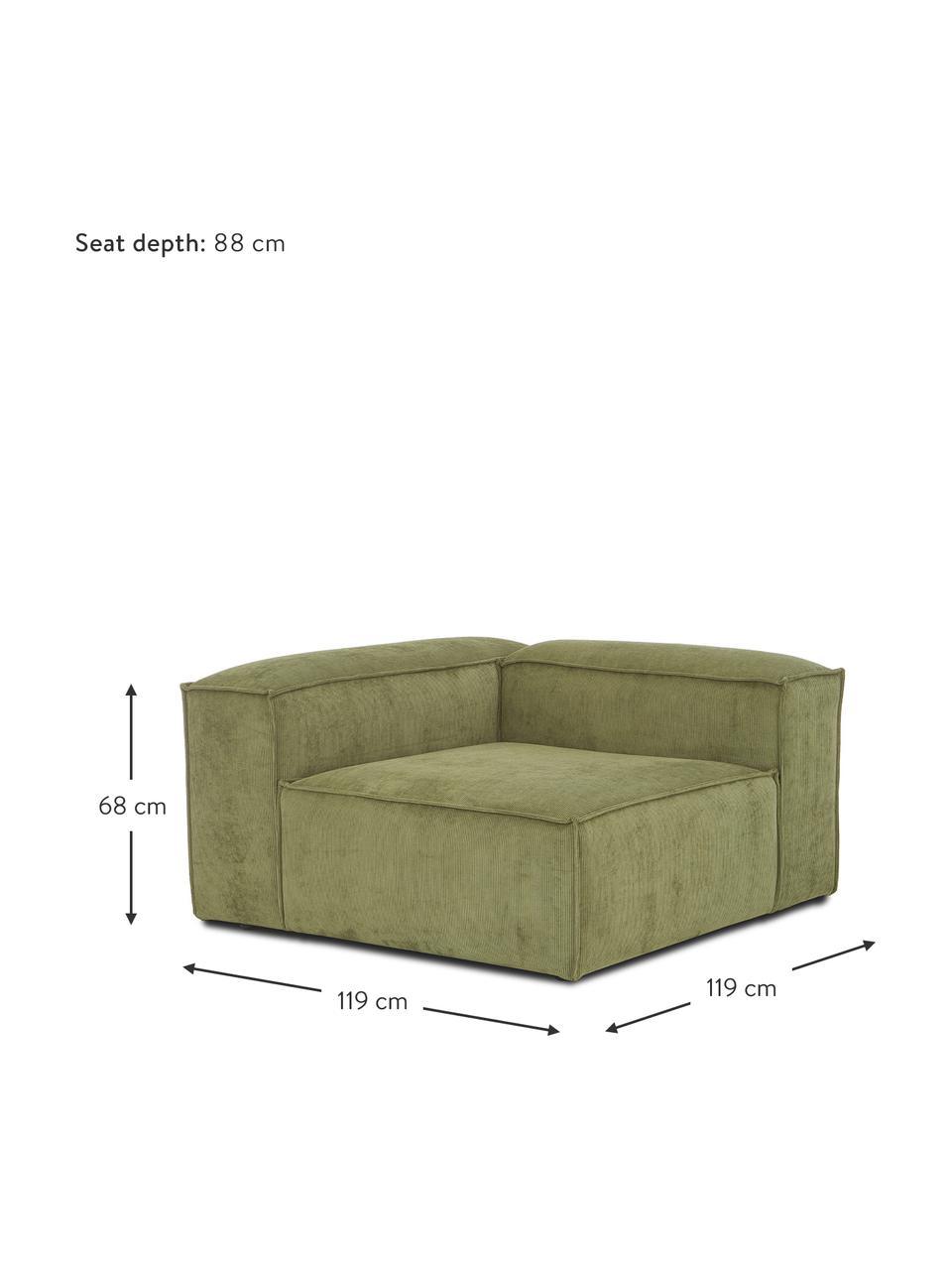 Eckmodul Lennon in Grün aus Cord, Bezug: Cord (92% Polyester, 8% P, Gestell: Massives Kiefernholz, Spe, Füße: Kunststoff Die Füße befin, Cord Grün, B 119 x T 119 cm