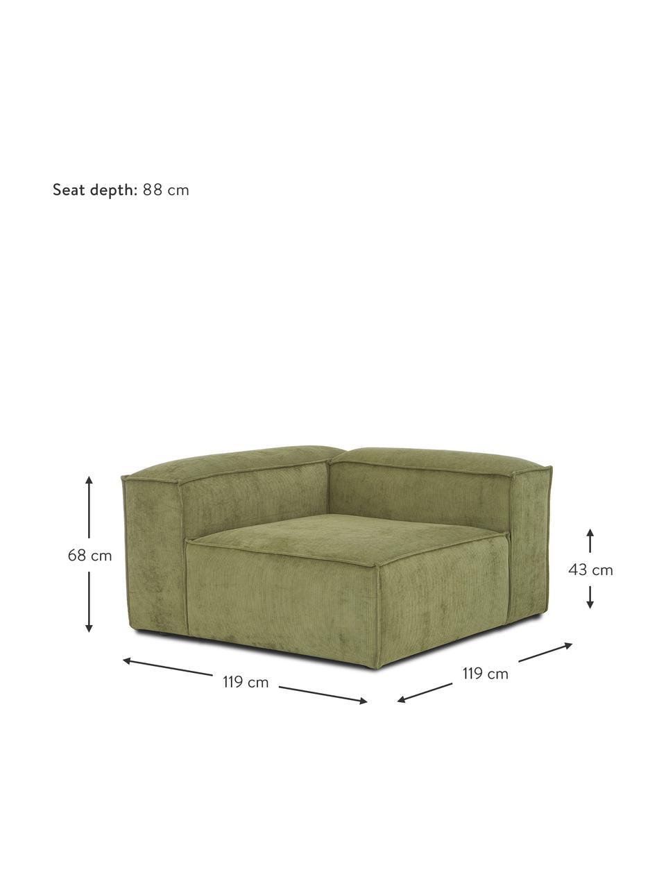 Hoekmodule Lennon in groen van corduroy, Bekleding: corduroy (92% polyester, , Frame: massief grenenhout, multi, Poten: kunststof De poten bevind, Corduroy groen, B 119 x D 119 cm