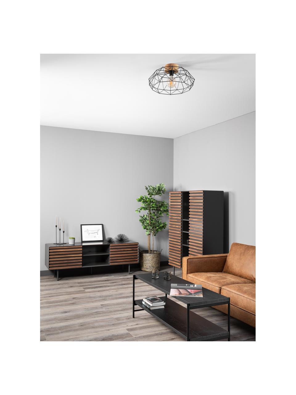 Lampada da soffitto con decoro in legno Padstow, Paralume: metallo verniciato, Baldacchino: legno, Nero, legno, Ø 46 x Alt. 21 cm