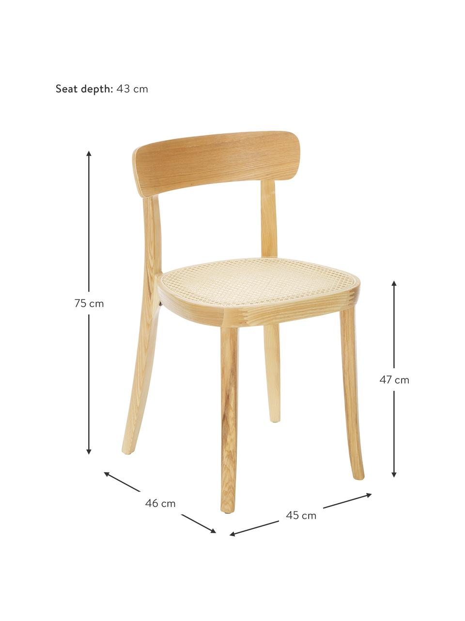 Holzstühle Richie mit Wiener Geflecht, 2 Stück, Sitzfläche: Rattan, Gestell: Eschenholz, massiv, Helles Holz, 45 x 75 cm