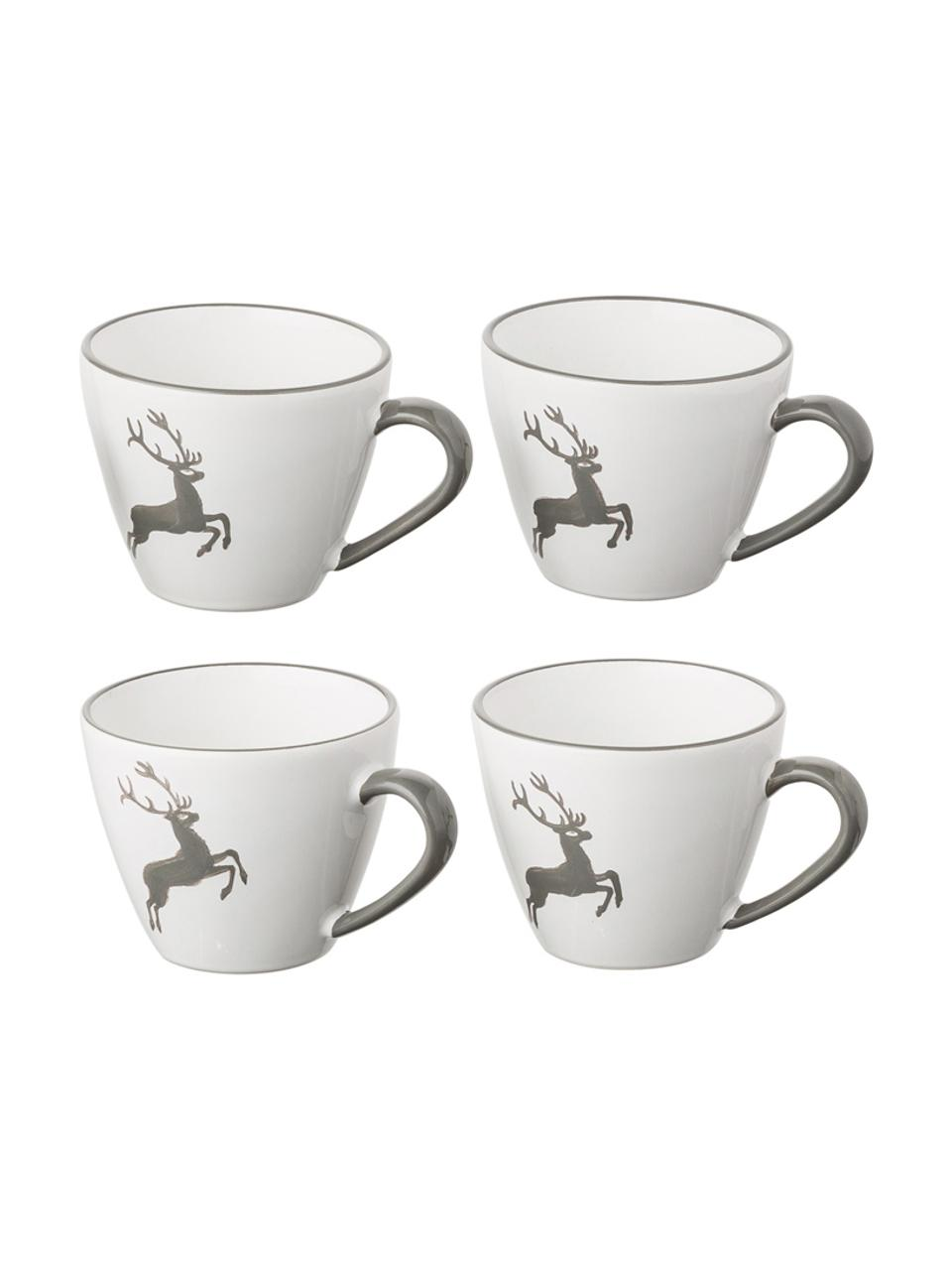 Handbemalte Kaffeetasse Gourmet Grauer Hirsch, Keramik, Grau,Weiß, 200 ml