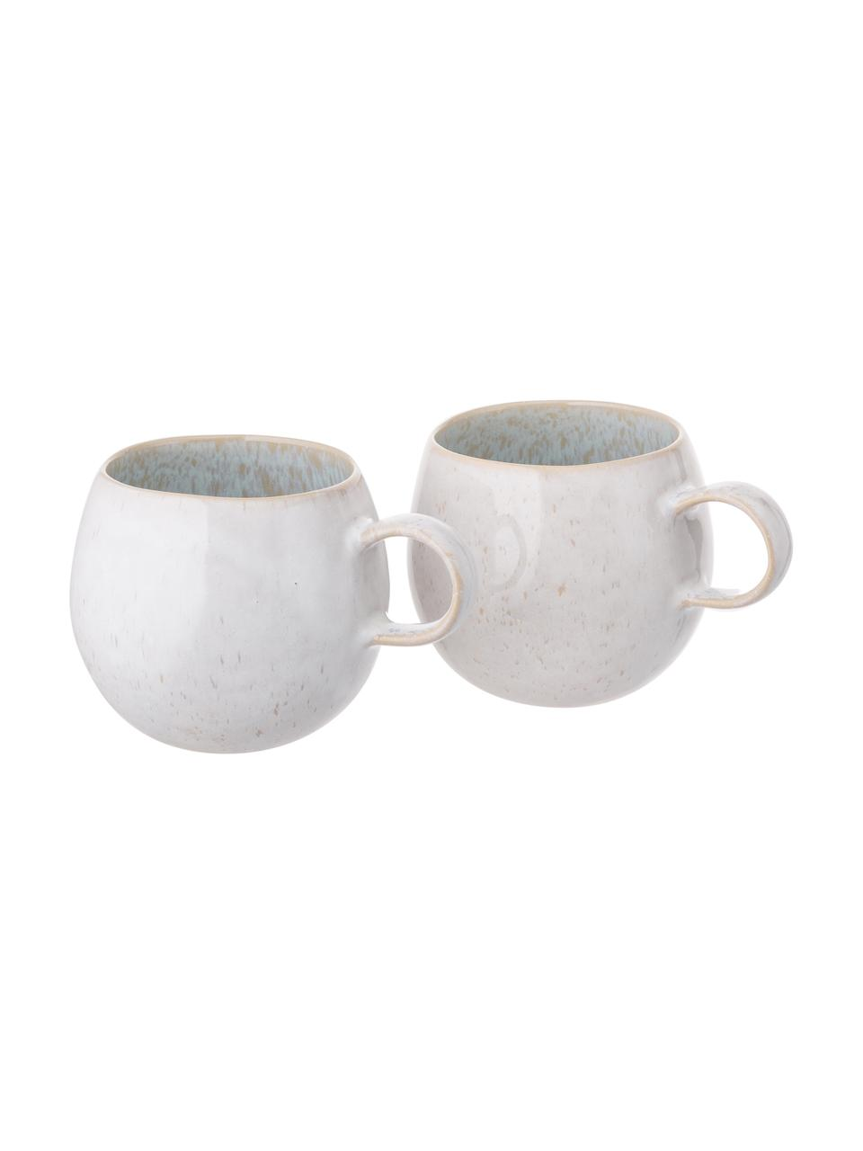 Ręcznie malowana filiżanka do herbaty Areia, 2 szt., Kamionka, Jasny niebieski, złamana biel, jasny beżowy, Ø 9 x W 10 cm