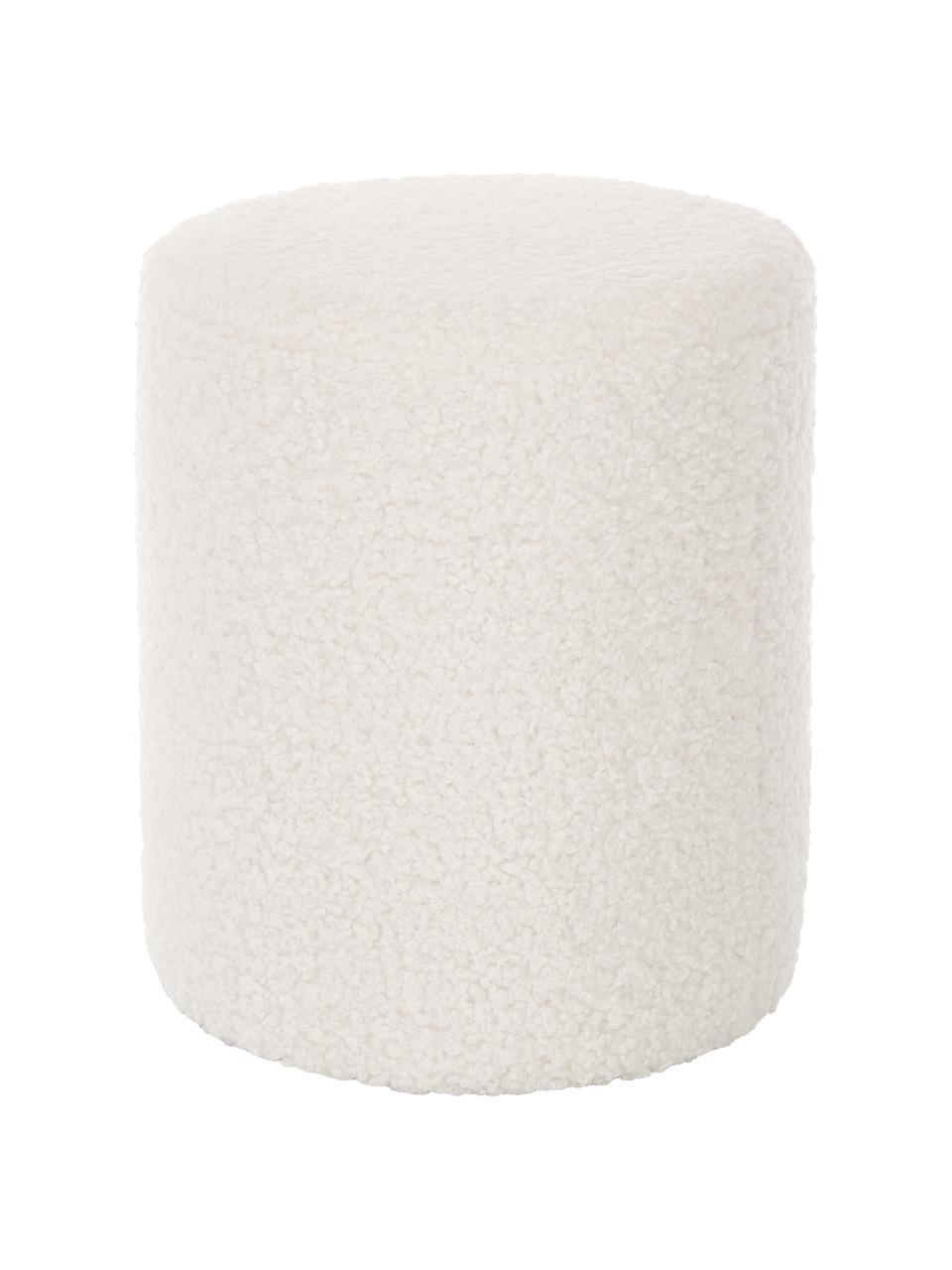 Pouf blanc peluche Daisy, Peluche blanc crème