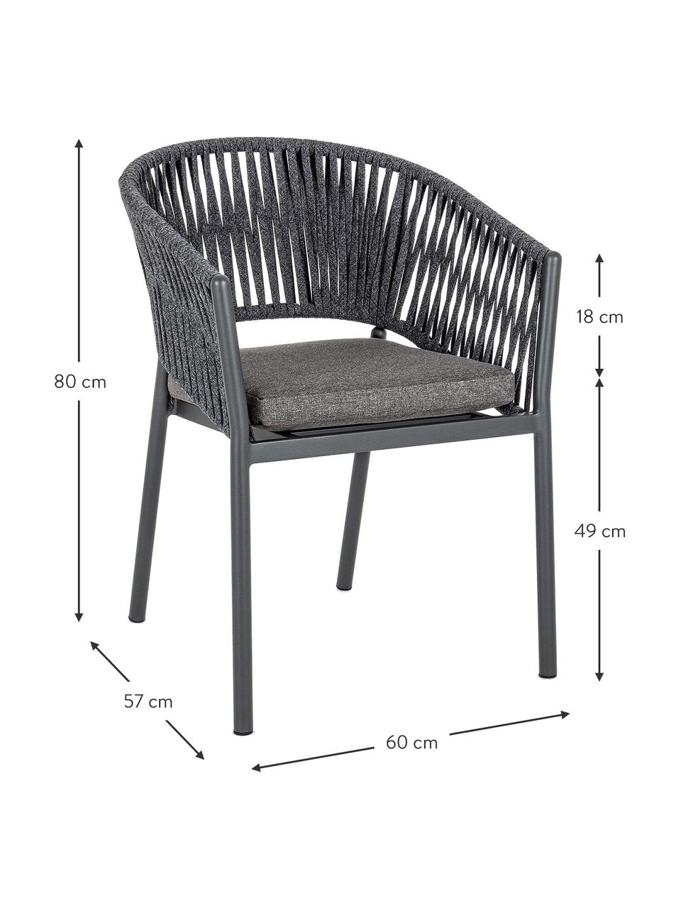 Sedia da giardino Florencia, Struttura: alluminio verniciato a po, Antracite, Larg. 60 x Alt. 80 cm