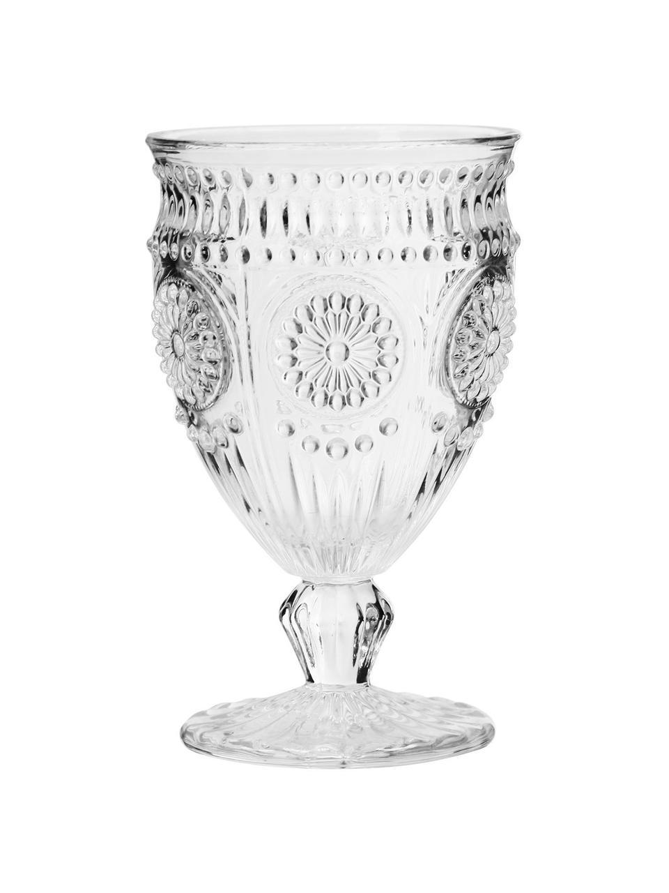 Pohár na víno so vzorovaným reliéfom Chambord, 6 ks, Priehľadná