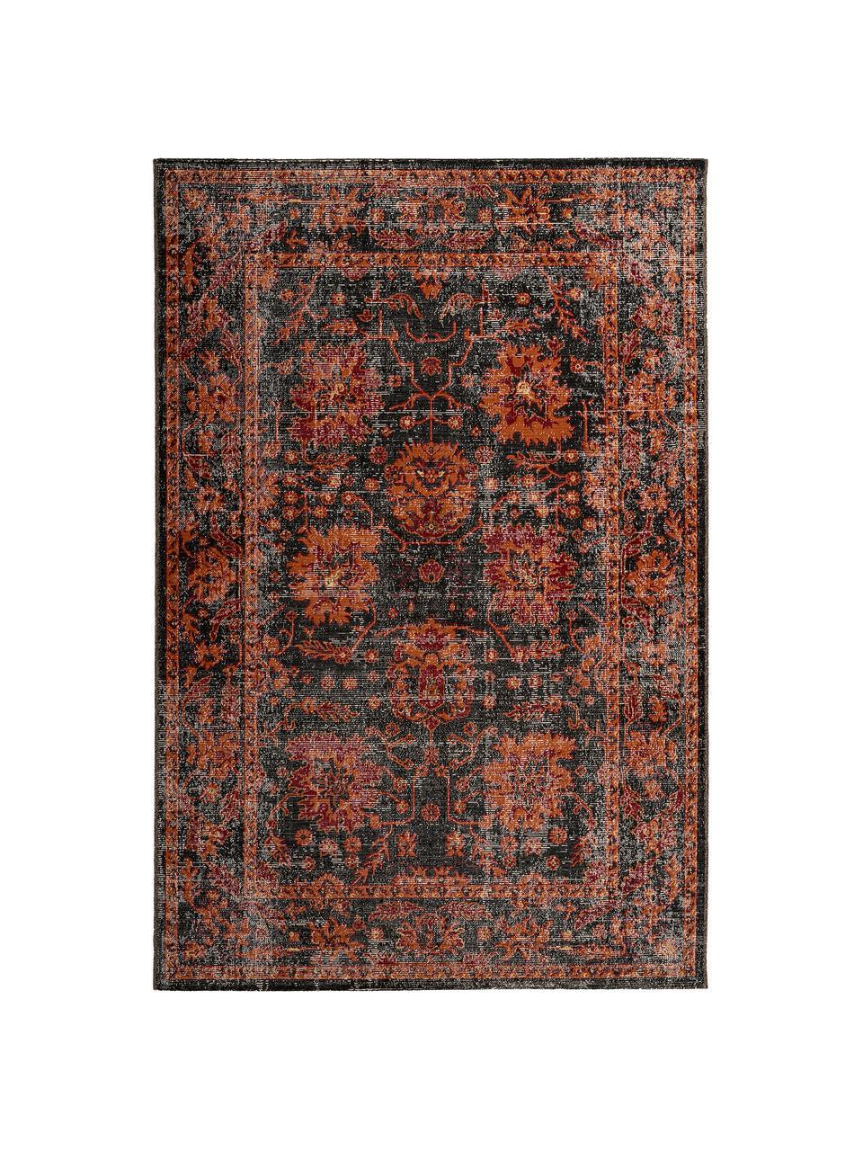 Dywan wewnętrzny/zewnętrzny w stylu orient Tilas, 100% polipropylen, Antracytowy, pomarańczowy, czerwony, S 80 x D 150 cm (Rozmiar XS)
