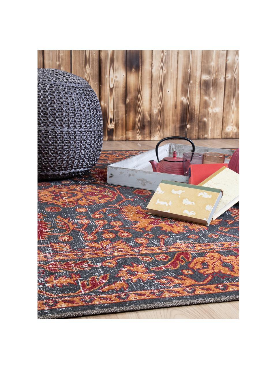 In- & outdoor vloerkleed Tilas in oranje/grijs, oosterse stijl, 100% polypropyleen, Antraciet, oranje, rood, B 80 x L 150 cm (maat XS)