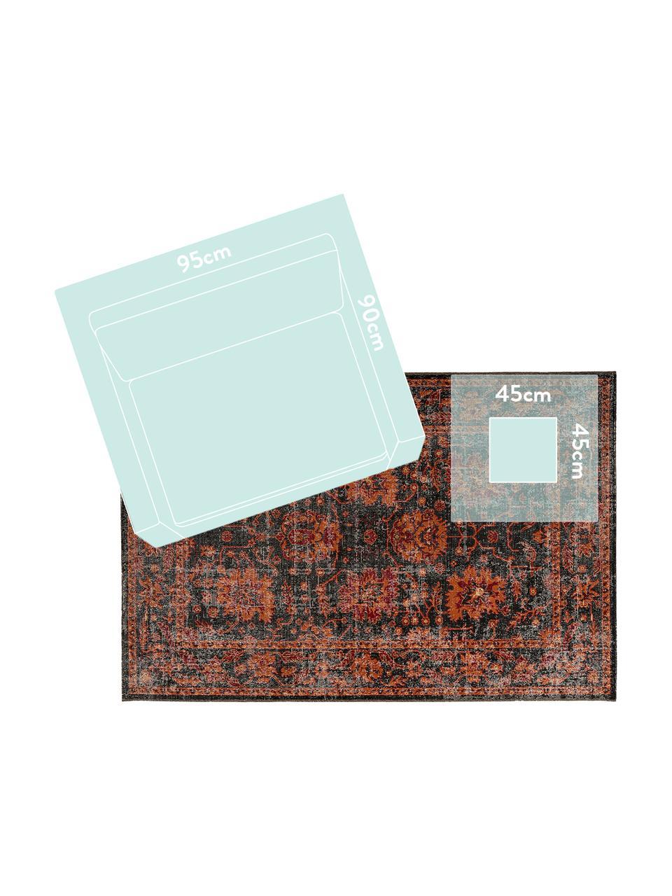 Tappeto orientale arancione/grigio da interno-esterno My Tilas, 100% polipropilene, Antracite, arancione, rosso, Larg. 80 x Lung. 150 cm (taglia XS)