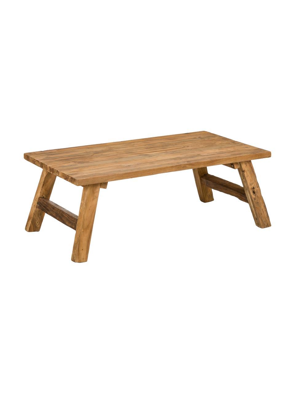 Stolik kawowy z drewna tekowego z recyklingu Lawas, Naturalne drewno tekowe, Drewno tekowe, S 120 x W 45 cm