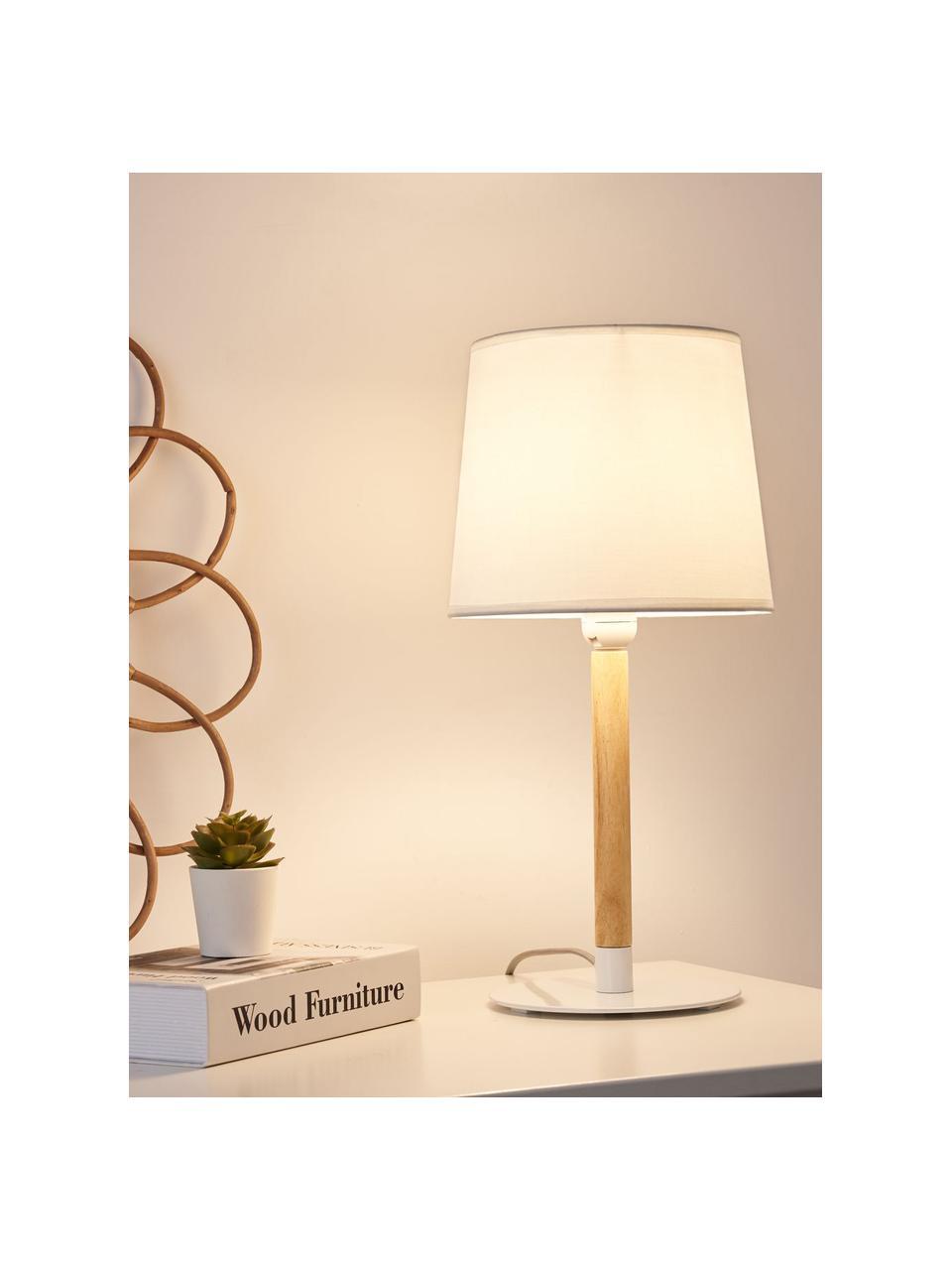 Tischlampe Woody Cuddles mit Holzfuß, Lampenschirm: Stoff, Lampenfuß: Metall, beschichtet, Stange: Holz, Weiß, Holz, Ø 22 x H 44 cm