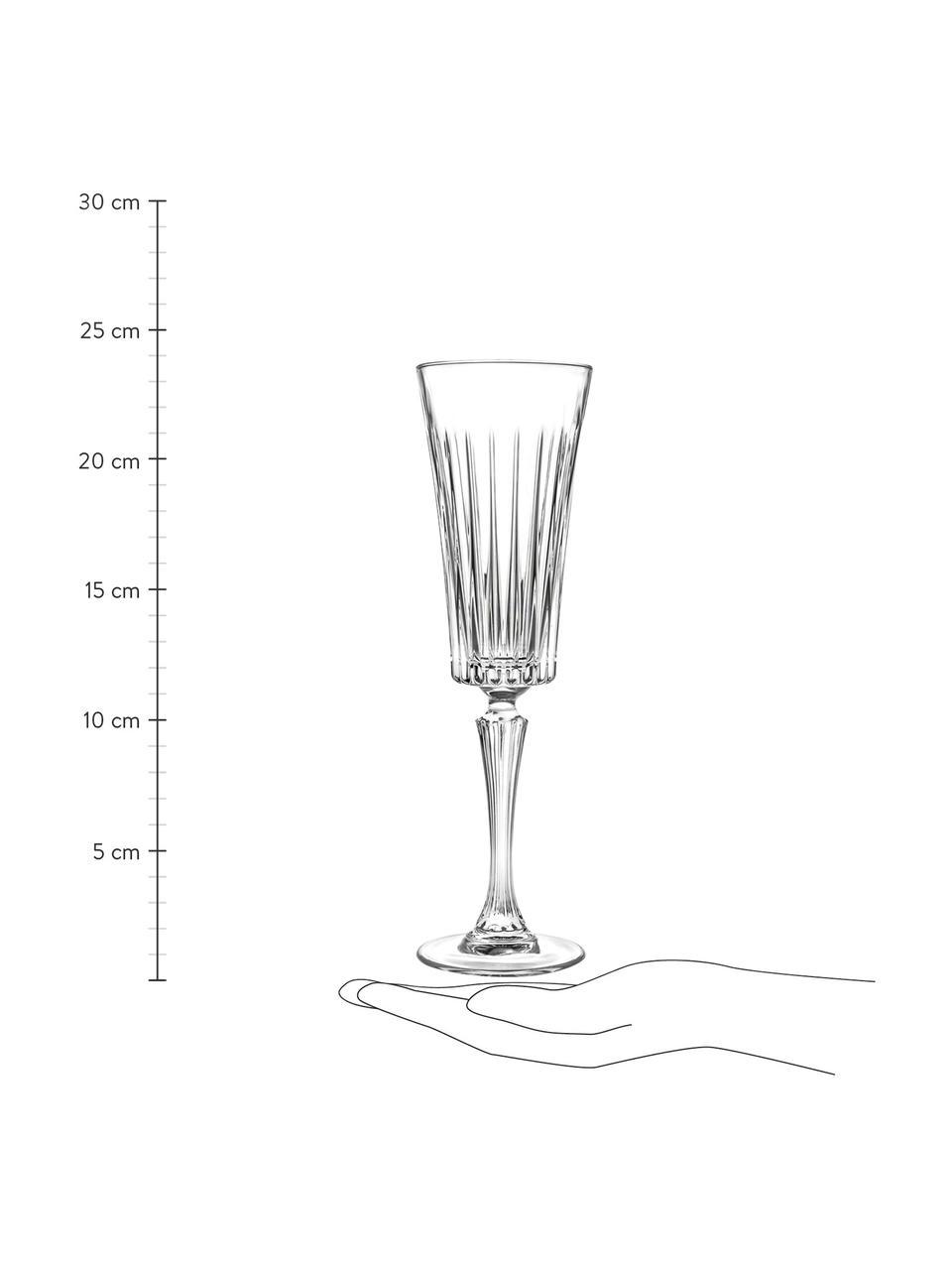Kieliszek do szampana ze szkła kryształowego Timeless, 6 szt., Szkło kryształowe Luxion, Transparentny, Ø 7 x W 24 cm