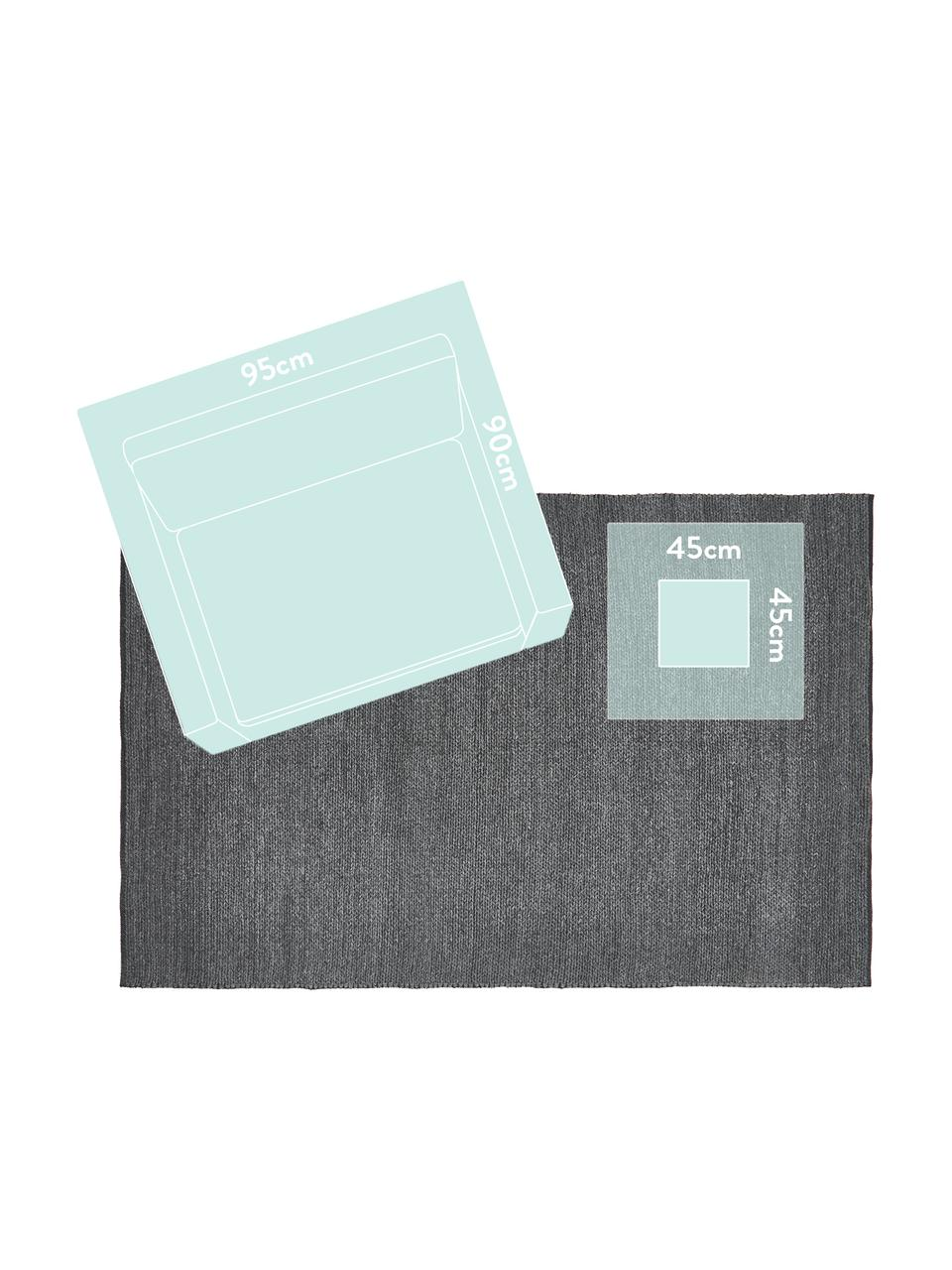 Ręcznie tkany dywan z wełny Uno, 60% wełna, 40% poliester Włókna dywanów wełnianych mogą nieznacznie rozluźniać się w pierwszych tygodniach użytkowania, co ustępuje po pewnym czasie, Ciemnyszary, melanżowy, S 160 x D 230 cm (Rozmiar M)