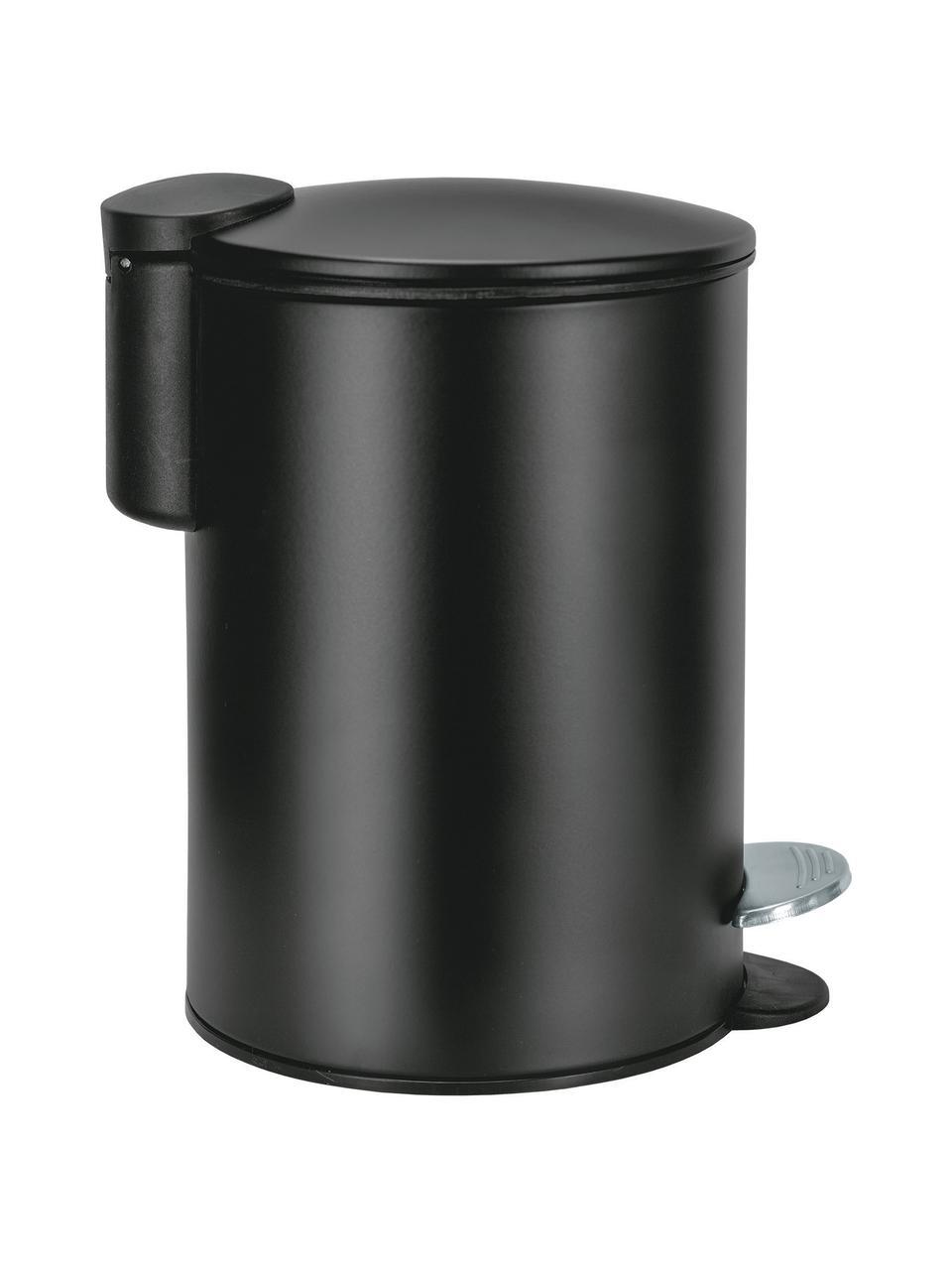 Abfalleimer Silence mit Pedalfunktion, Metall, lackiert, Schwarz, Ø 17 x H 24 cm