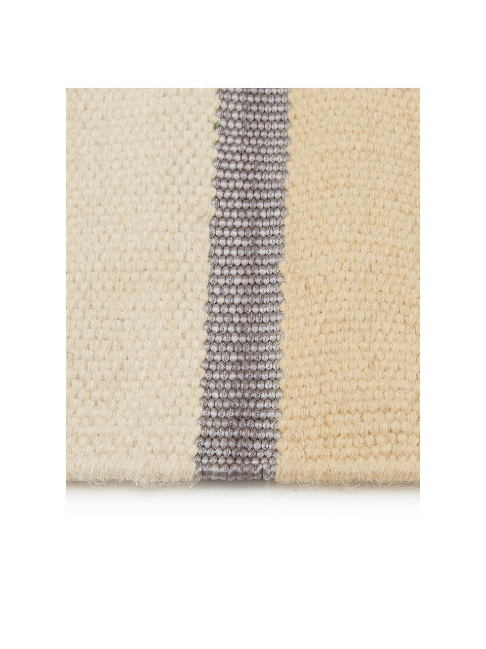 Handgeweven wollen vloerkleed Metallum in beige/geel met franjes, 85% wol, 15% polyester Bij wollen vloerkleden kunnen vezels loskomen in de eerste weken van gebruik, dit neemt af door dagelijks gebruik en pluizen wordt verminderd., Multicolour, B 200 x L 300 cm (maat L)