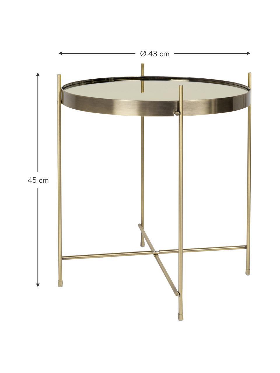 Tablett-Beistelltisch Cupid mit Glasplatte, Gestell: Metall, pulverbeschichtet, Tischplatte: Spiegelglas, lackiert, Goldfarben, Ø 43 x H 45 cm