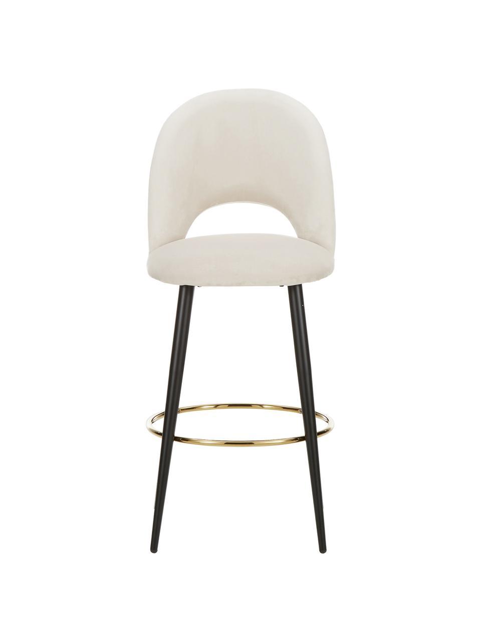 Chaise de bar velours Rachel, Velours beige