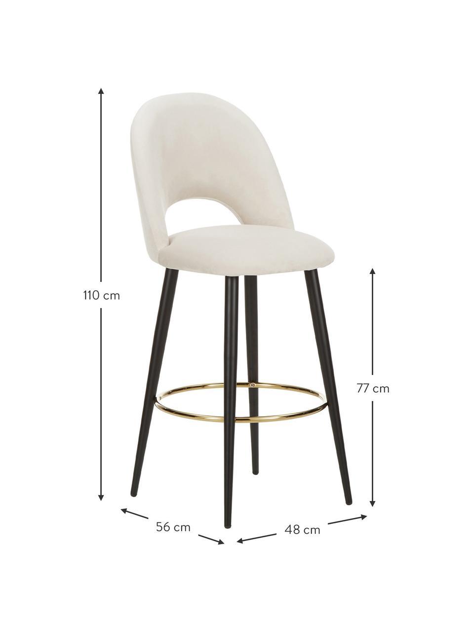 Krzesło barowe z aksamitu Rachel, Tapicerka: aksamit (poliester) 5000, Nogi: metal malowany proszkowo , Aksamitny beżowy, S 48 x W 110 cm