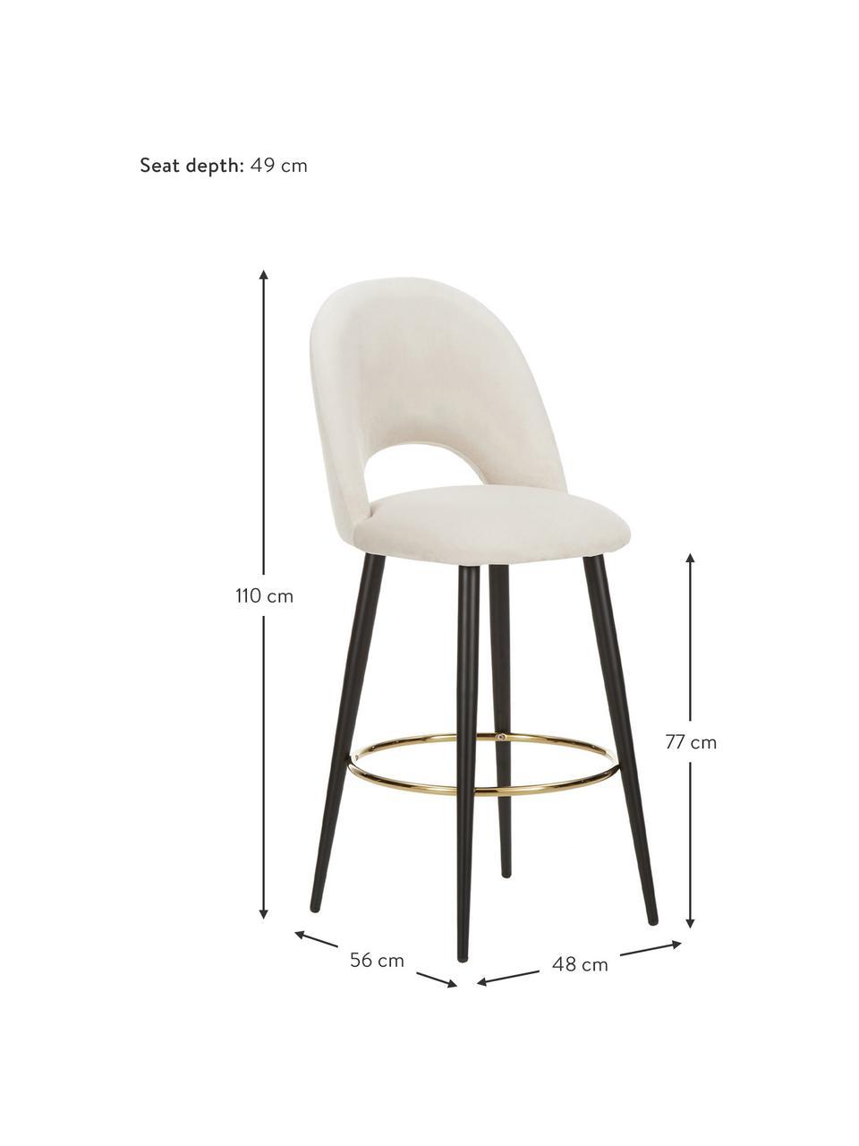 Krzesło barowe z aksamitu Rachel, Tapicerka: aksamit (wysokiej jakości, Nogi: metal malowany proszkowo, Aksamitny beżowy, S 48 x W 110 cm