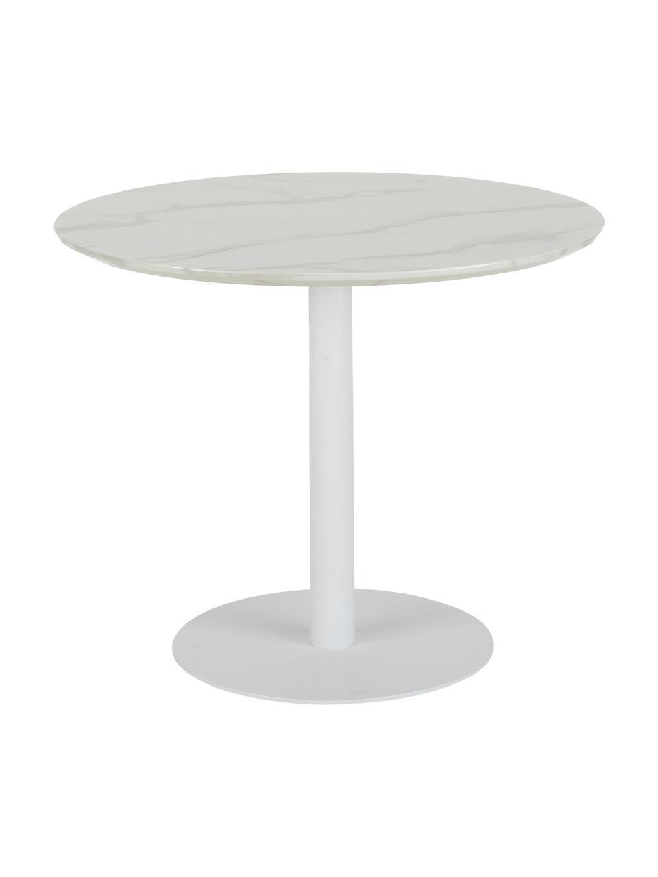 Okrągły stół do jadalni z imitacji marmuru Karla, Blat: płyta pilśniowa średniej , Blat: biały, marmurowy Noga: biały, matowy, Ø 90 x W 75 cm