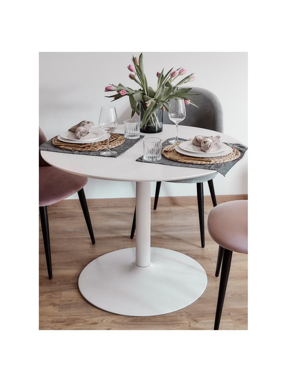 Runder Esstisch Karla in Marmoroptik, Tischplatte: Mitteldichte Holzfaserpla, Tischplatte: Weiß, marmoriert Tischbein: Weiß, matt, ∅ 90 x H 75 cm