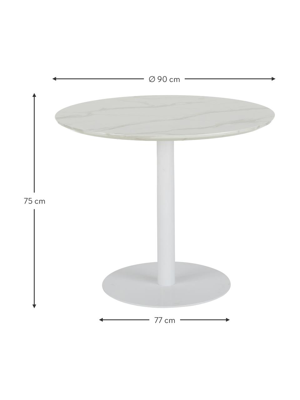Table ronde blanche Karla, Blanc marbré