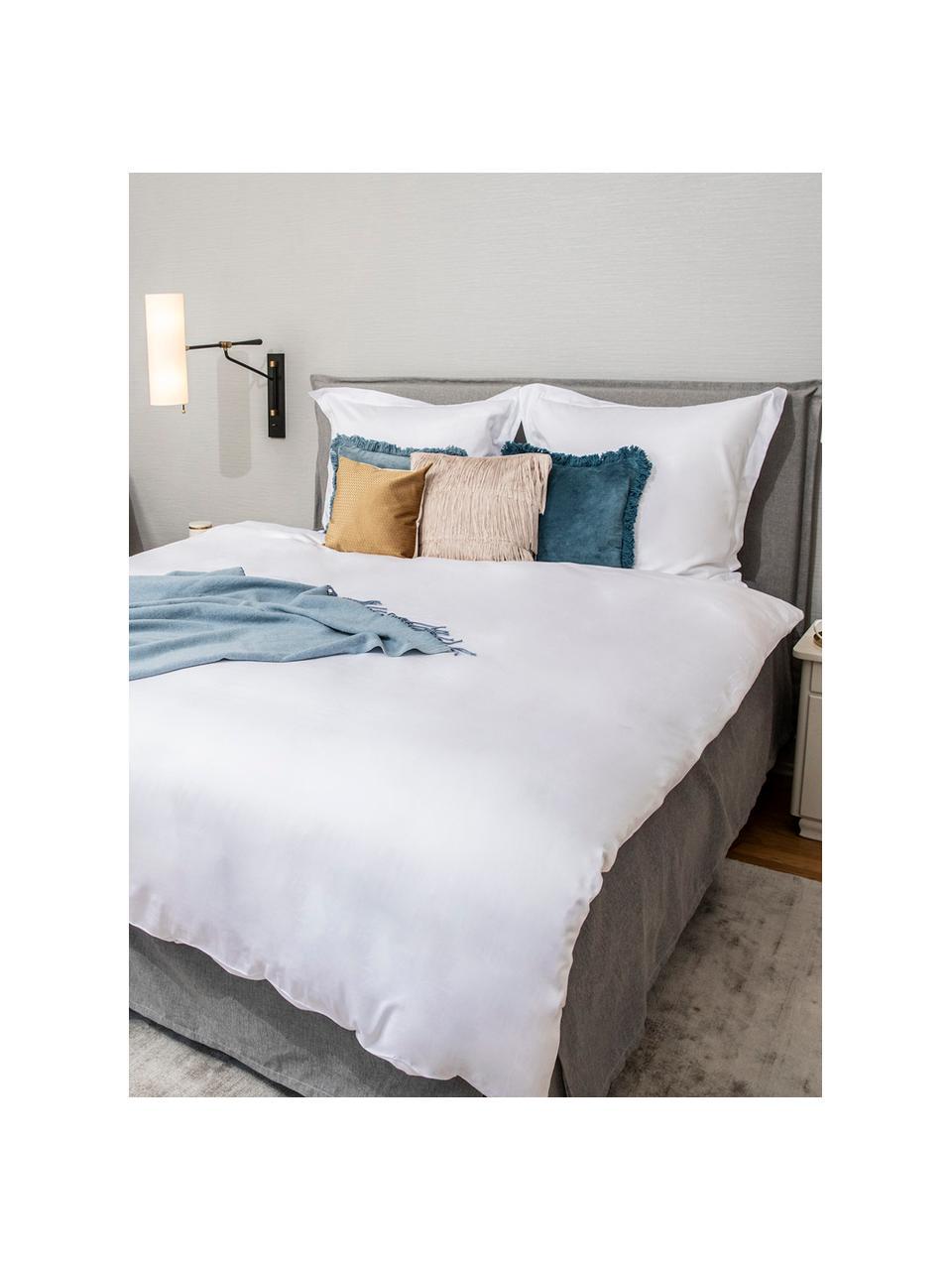 Pościel z organicznej satyny bawełnianej z lamówką Premium, Biały, 135 x 200 cm + 1 poduszka 80 x 80 cm