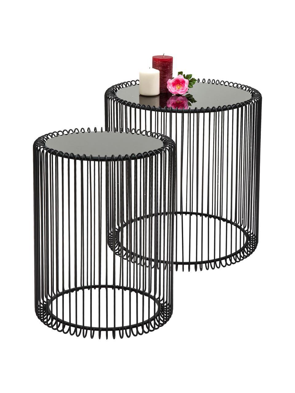 Metalen bijzettafel Wire met glazen tafelblad, 2-delig, Frame: gepoedercoat metaal, Tafelblad: veiligheidsglas, in folie, Zwart, Set met verschillende formaten
