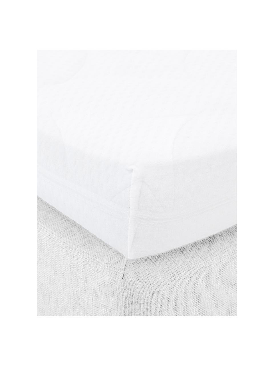 Topper hoeslaken Lara in wit, jersey-elastaan, 95% katoen, 5% elastaan, Wit, 180 x 200 cm