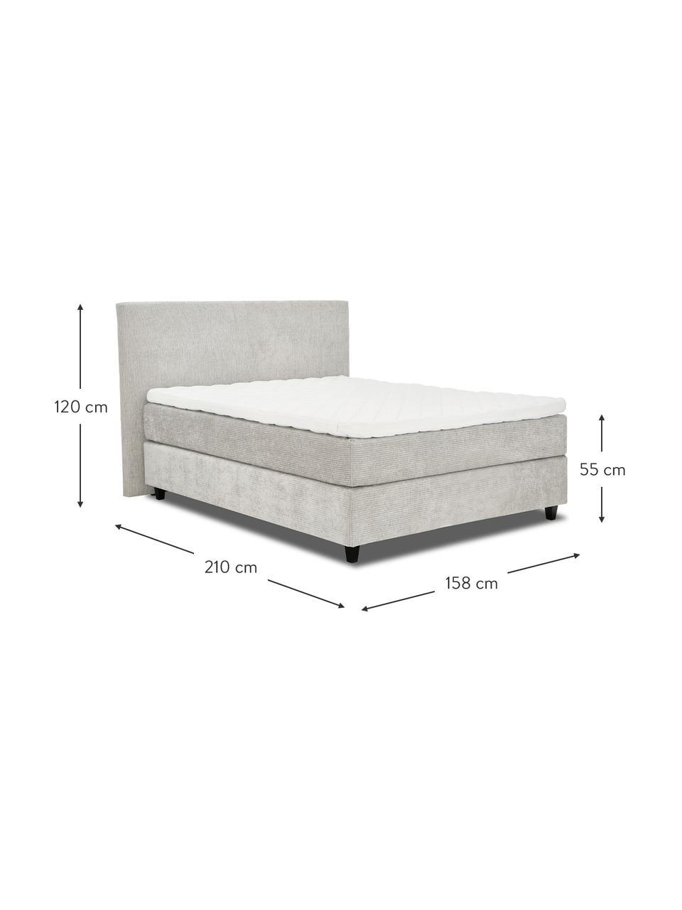 Premium corduroy boxspring bed Eliza in lichtgrijs, Matras: 5-zones pocketvering, Poten: massief gelakt berkenhout, Corduroy grijs, 200 x 200 cm
