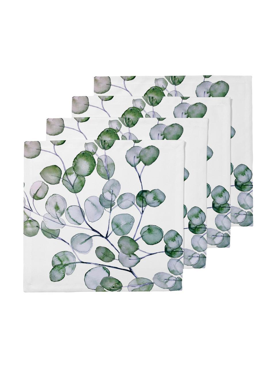Serwetka z tkaniny Eucalyptus, 4 szt., Bawełna, Biały, zielony, szary, S 40 x D 40 cm