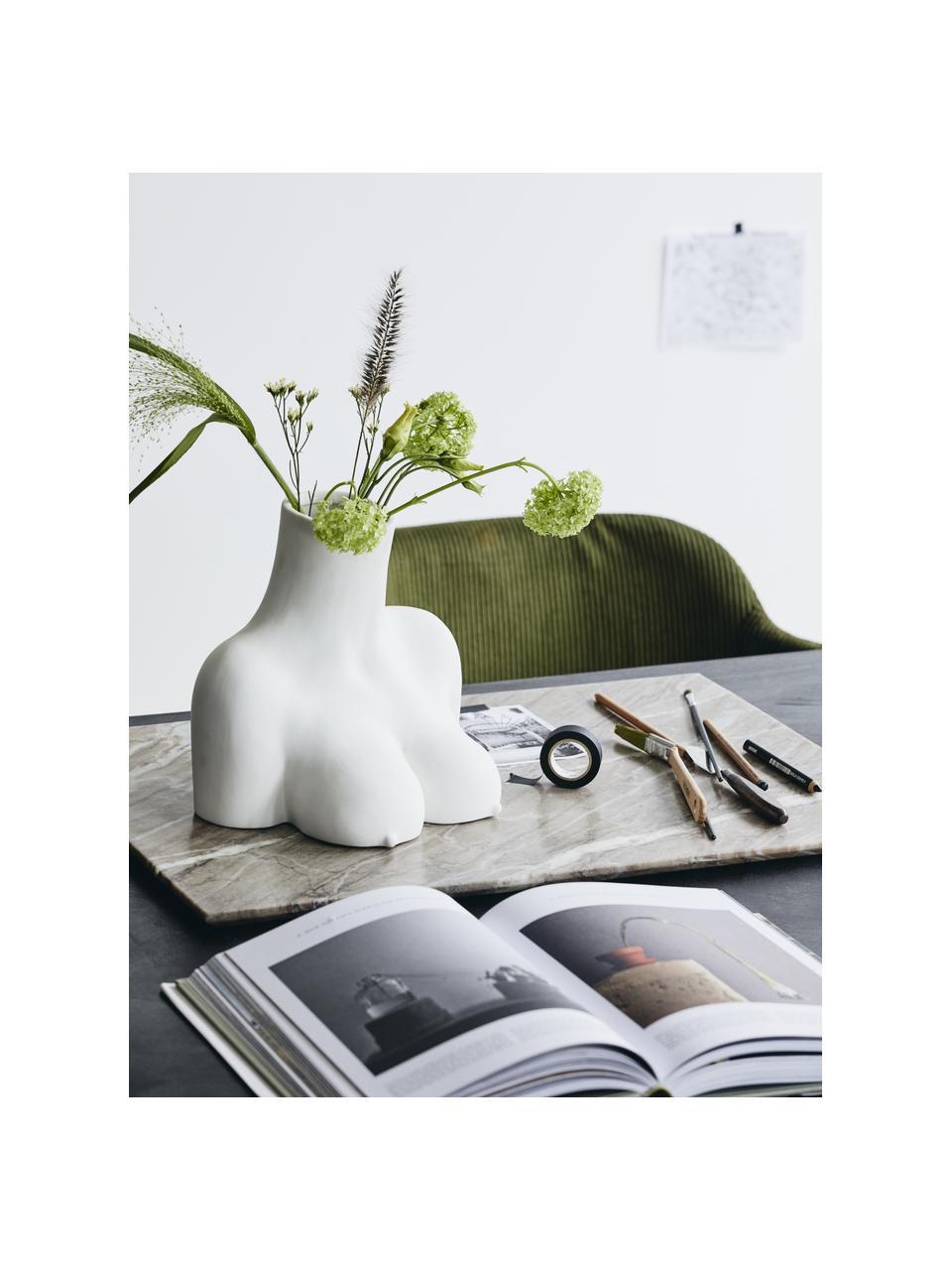 Design-Vase Avaji in Weiß, Keramik, Weiß, 27 x 23 cm