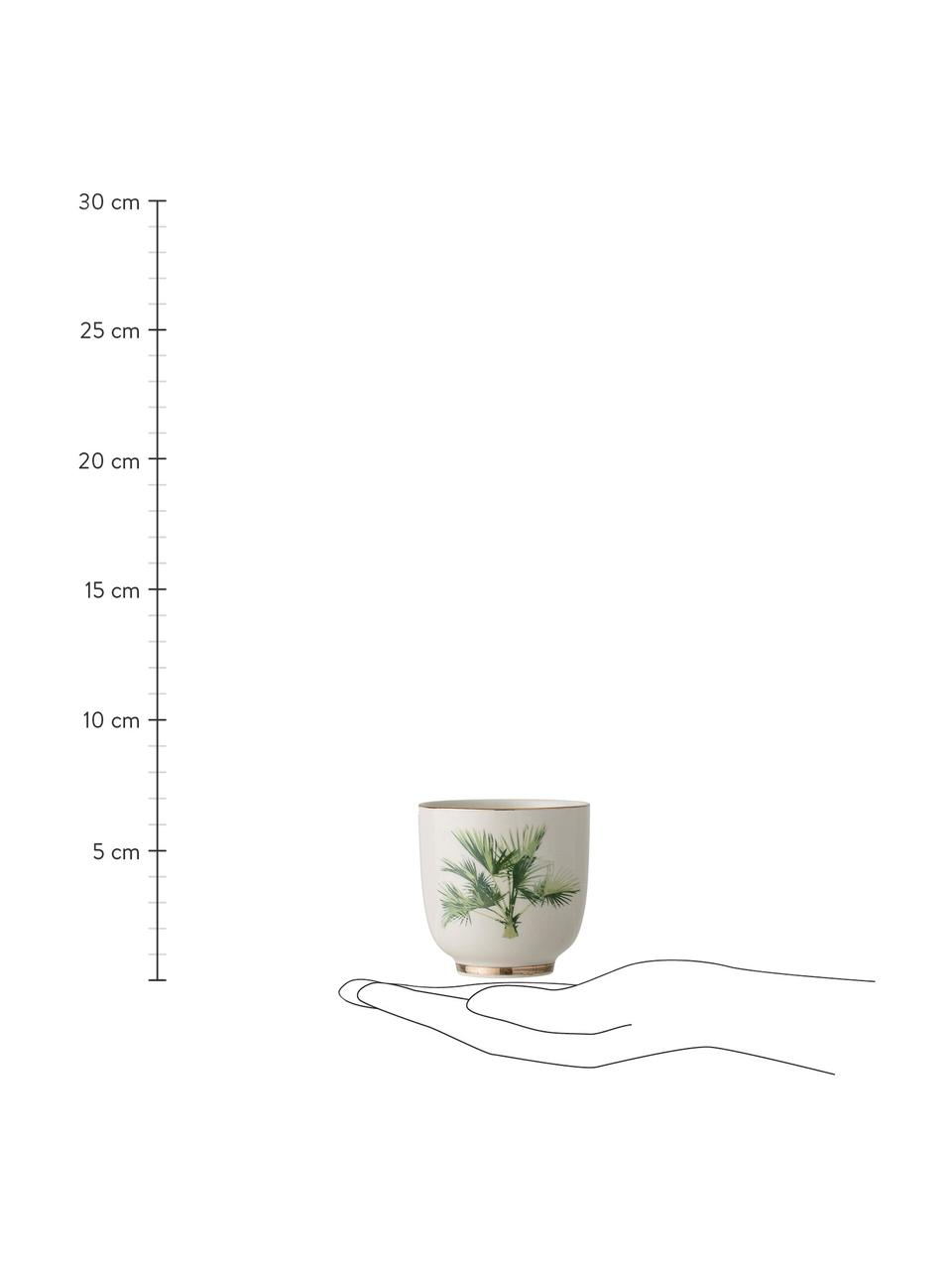 Becher Aruba mit tropischem Motiv, 4 Stück, Steingut, Cremeweiß, Grün, Ø 7 x H 7 cm