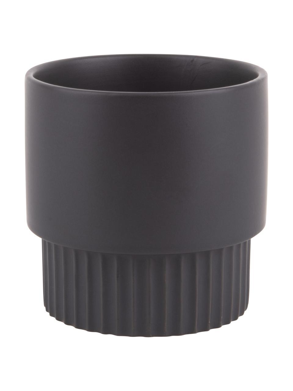 Übertopf Ribbed aus Keramik, Keramik, Schwarz, Ø 13 x H 14 cm