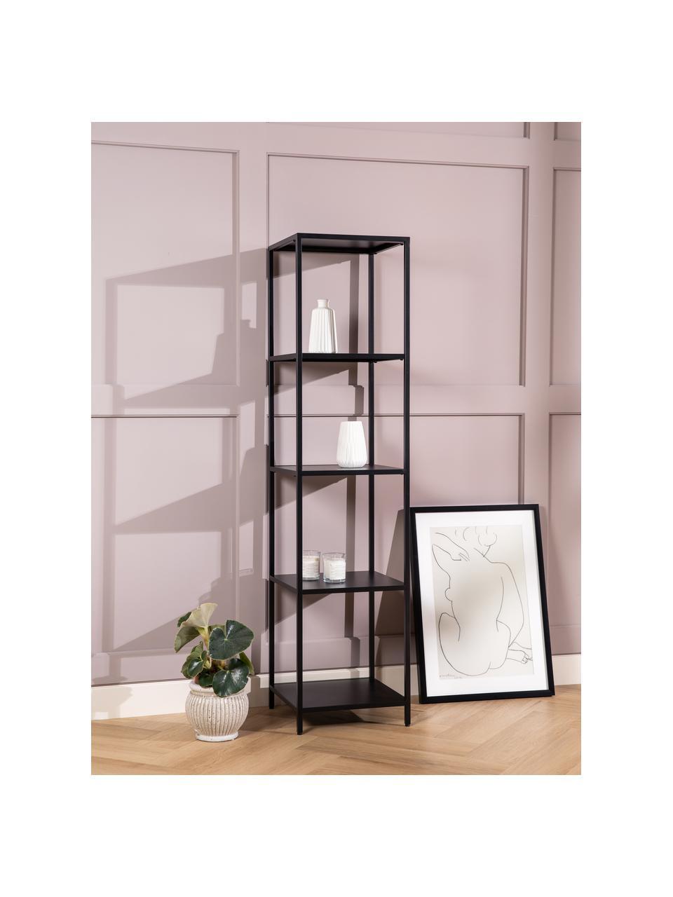 Libreria in metallo nero Neptun, Metallo verniciato a polvere, Nero, Larg. 35 x Alt. 146 cm