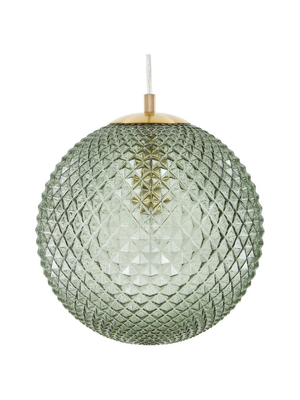 Mała lampa wisząca ze szkła Lorna, Zielony, Ø 25 cm