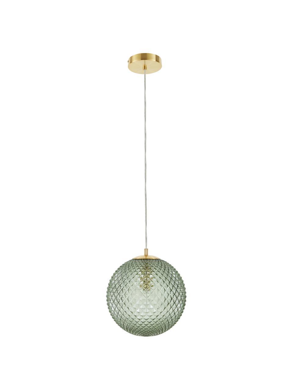 Kleine Pendelleuchte Lorna aus Glas, Lampenschirm: Glas, Grün, Ø 25 cm