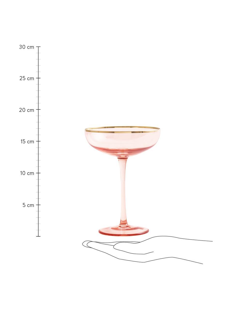 Coupe à champagne en verre teinté avec bordure dorée Goldie, 6pièces, Rose, or