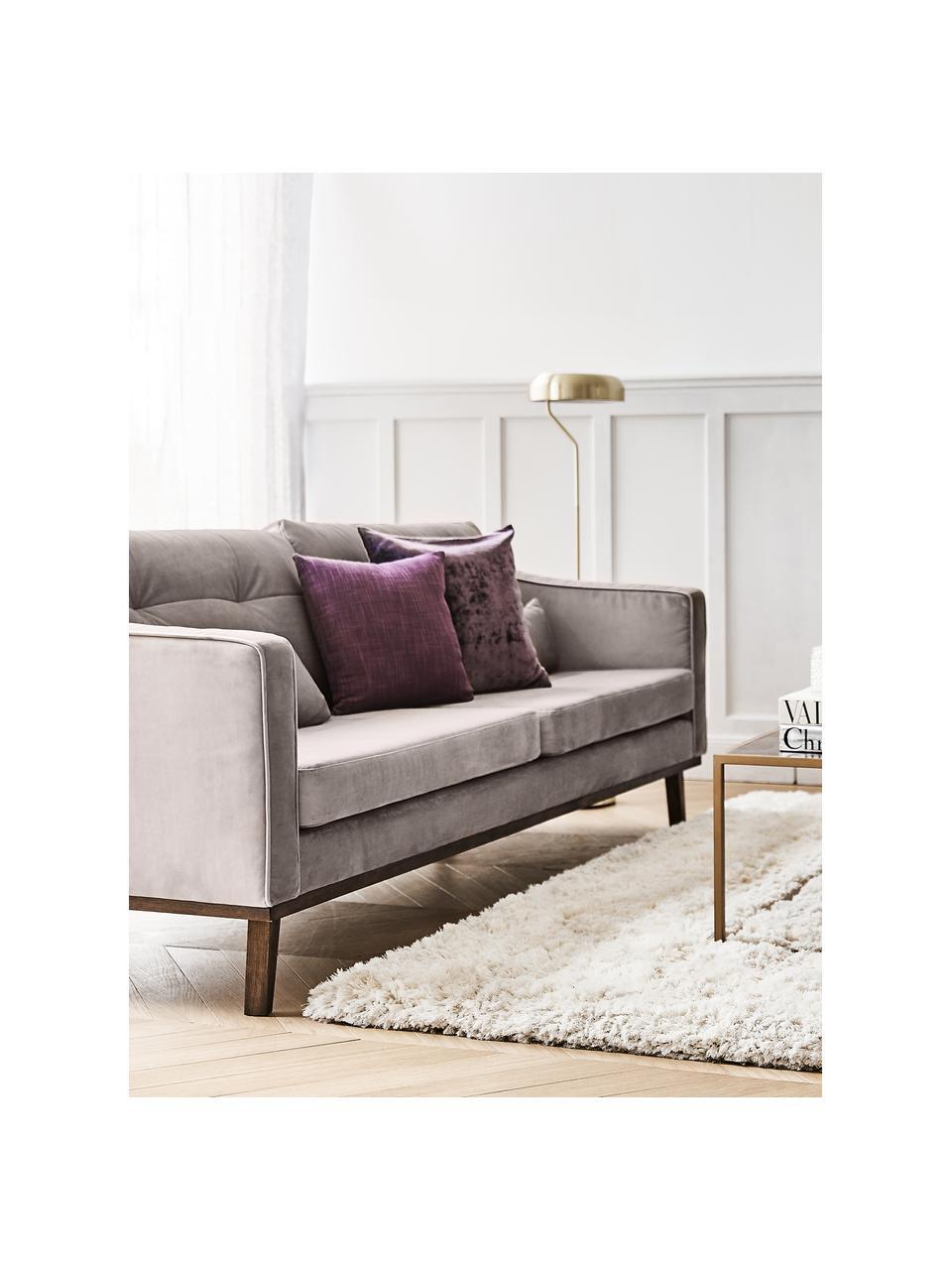 Sofa z aksamitu z nogami z drewna bukowego Alva (3-osobowa), Tapicerka: aksamit (wysokiej jakości, Nogi: lite drewno bukowe, barwi, Aksamitny taupe, S 215 x G 92 cm
