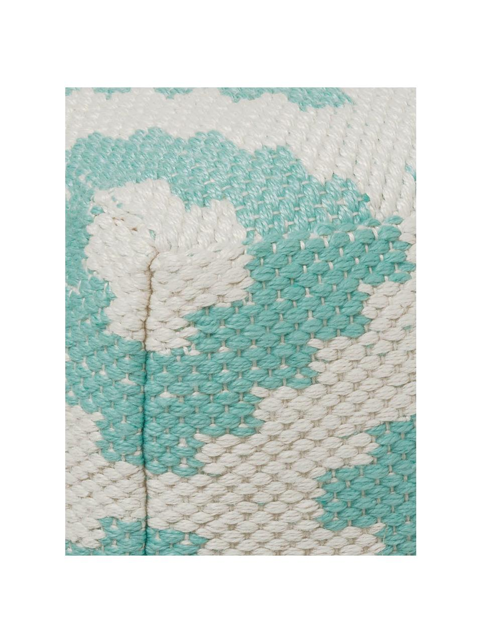 In- & outdoor poef Napua, Bekleding: 100% gerecycled polyester, Turquoise, ecru, 40 x 40 cm
