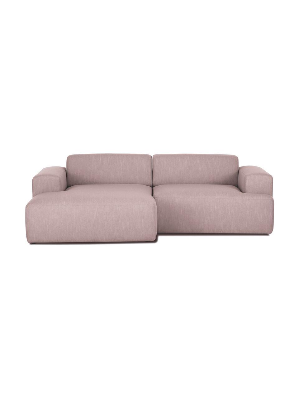 Sofa narożna Melva (3-osobowa), Tapicerka: poliester Dzięki tkaninie, Nogi: drewno sosnowe Nogi znajd, Blady różowy, S 240 x G 144 cm