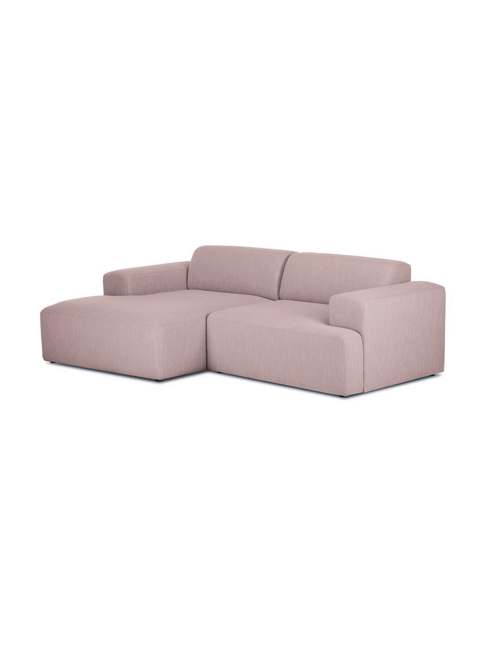 Canapé d'angle 3places rose Melva, Tissu rose