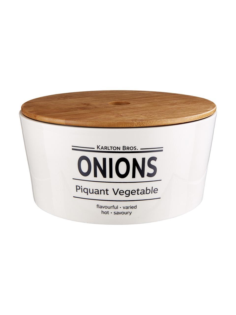 Aufbewahrungsdose Karlton Bros. Onions, Ø 22 x H 11 cm, Porzellan, Weiß, Schwarz, Braun, Ø 22 x H 11 cm
