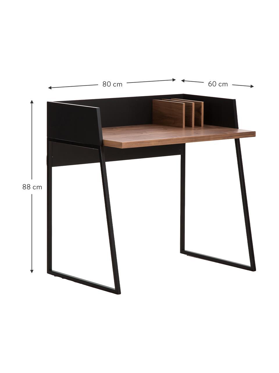 Małe biurko z przedziałami Camille, Nogi: metal lakierowany, Drewno orzecha włoskiego, czarny, S 90 x G 60 cm