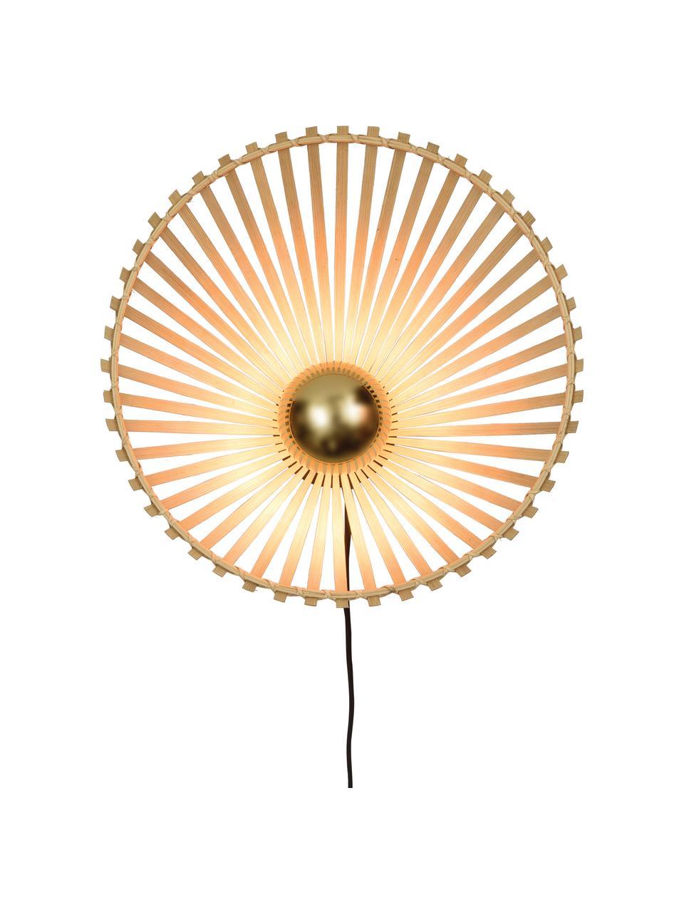 Wandlamp Bromo met stekker, Lampenkap: bamboe, Beige, zwart, Ø 40 x H 40 cm