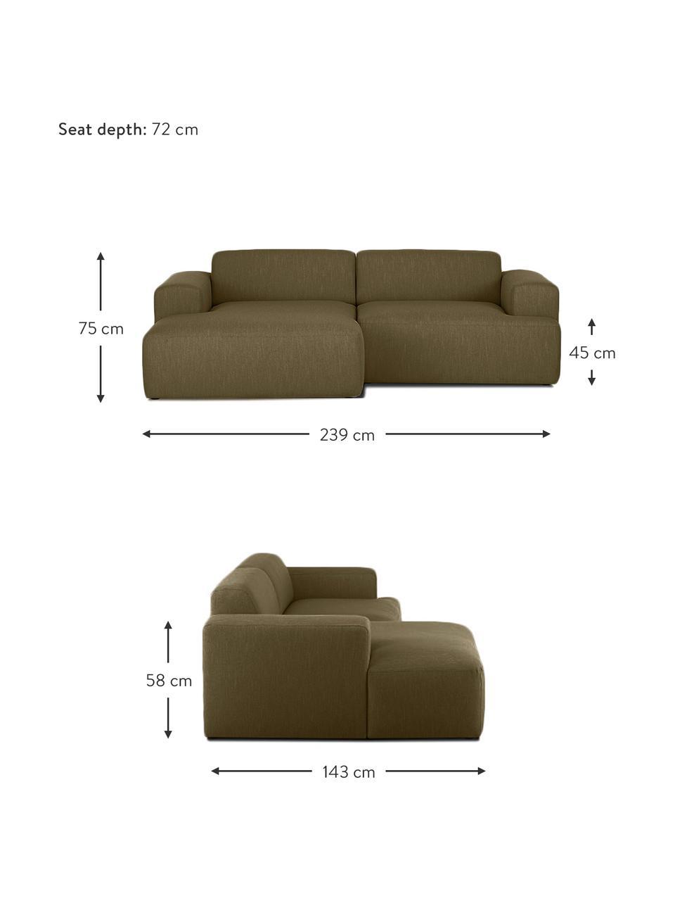 Ecksofa Melva (3-Sitzer) in Olivgrün, Bezug: 100% Polyester Der hochwe, Gestell: Massives Kiefernholz, FSC, Füße: Kunststoff, Webstoff Olivgrün, B 239 x T 143 cm