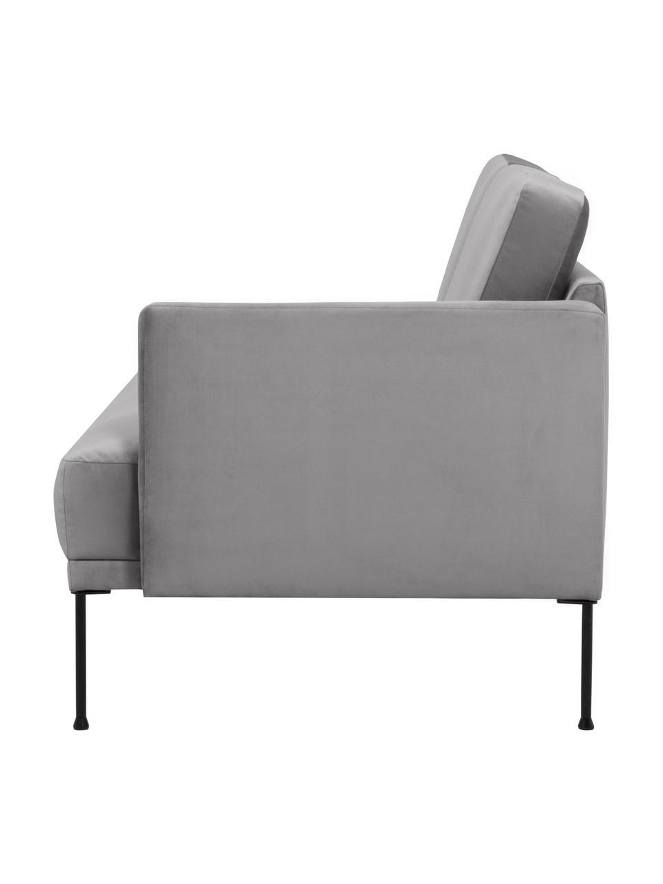 Chaise longue in grigio chiaro Fluente, Rivestimento: velluto (rivestimento in , Struttura: legno di pino massiccio, Piedini: metallo verniciato a polv, Velluto grigio chiaro, Larg. 202 x Alt. 79 cm