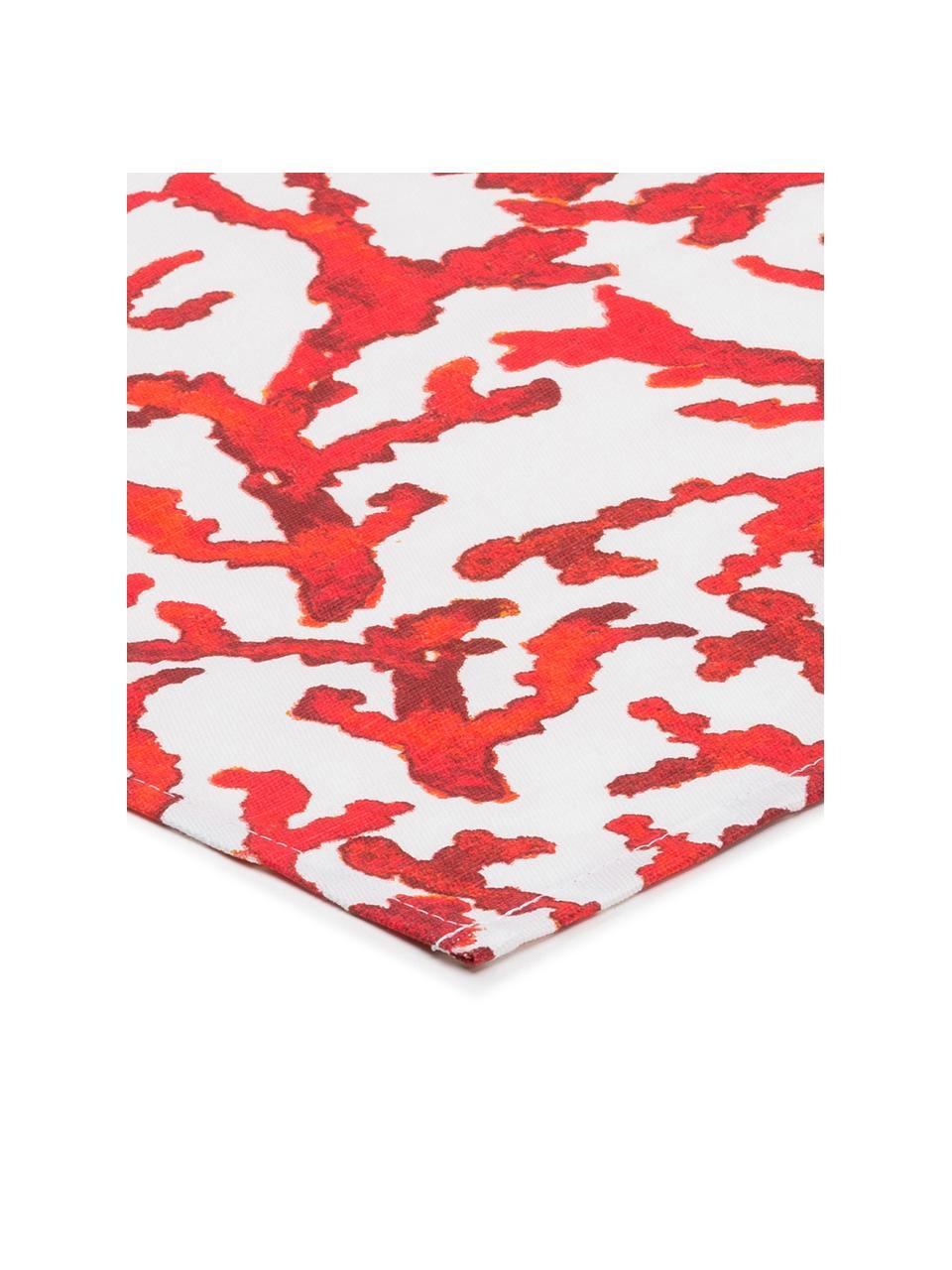 Runner in cotone con motivo corallo Estran 2 pz, Cotone, Rosso, bianco, Larg. 50 x Lung. 160 cm